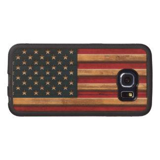 La bandera del vintage de América apenó Funda De Madera Para Samsung Galaxy S6 Edge