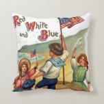 La bandera embroma arte de la postal del vintage d almohada