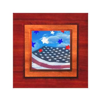 La bandera en la ilusión de madera envolvió el mar lona estirada galerías