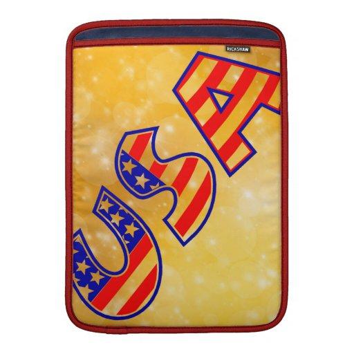 La bandera fresca de América pone letras al oro de Fundas MacBook