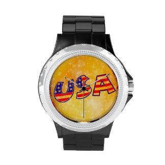 La bandera fresca de América pone letras al oro de Reloj