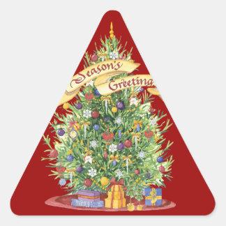 La bandera hermosa del árbol de navidad sazona calcomania trianguloada