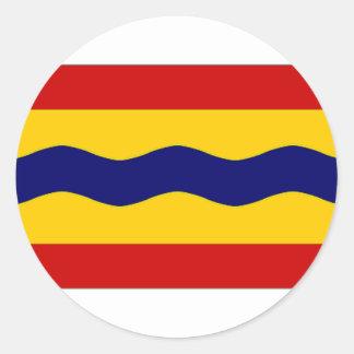 La bandera holandesa de Overijssel Etiqueta Redonda