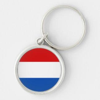 La bandera holandesa llavero redondo plateado