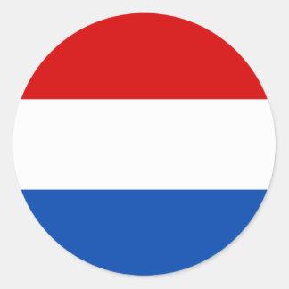 La bandera holandesa pegatina redonda