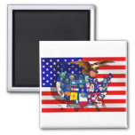 La bandera los E.E.U.U. de American Eagle los E.E. Imanes