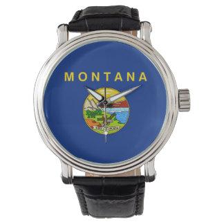 La bandera los E.E.U.U. del estado de Montana unió Reloj