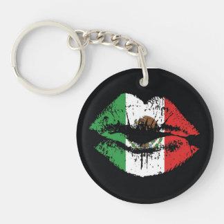La bandera/los labios de México diseña la cadena d Llavero Redondo Acrílico A Una Cara