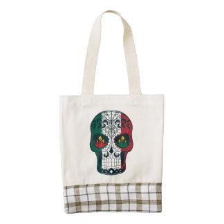 La bandera mexicana colorea el día del cráneo bolsa tote zazzle HEART