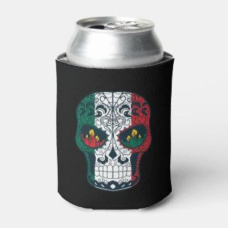 La bandera mexicana colorea el día del cráneo enfriador de latas
