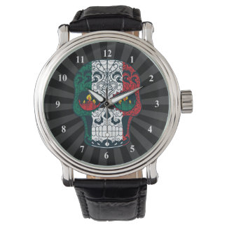 La bandera mexicana colorea el día del cráneo relojes de pulsera