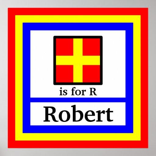 La bandera náutica está para el nombre de R y de s Póster