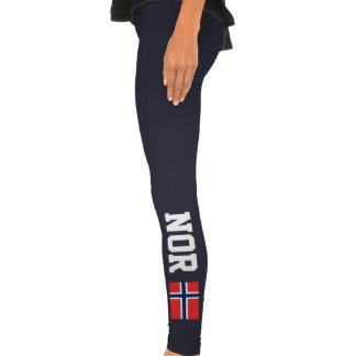 La bandera noruega se divierte las polainas para l