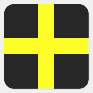 La bandera País de Gales Galés de St David Pegatina Cuadrada