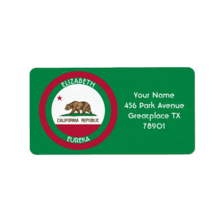 La bandera personalizada California del oso Etiquetas De Dirección