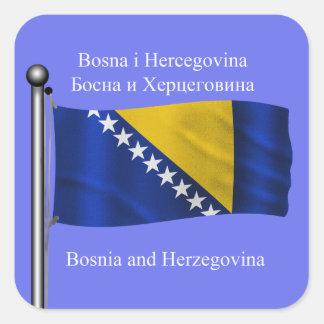 La bandera que agita de Bosnia y Herzegovina Pegatina Cuadrada