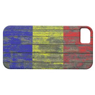 La bandera rumana en la madera áspera sube a iPhone 5 fundas