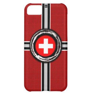 La bandera suiza graba en relieve la caja roja de