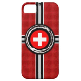 La bandera suiza graba en relieve la caja roja de  iPhone 5 Case-Mate cárcasa