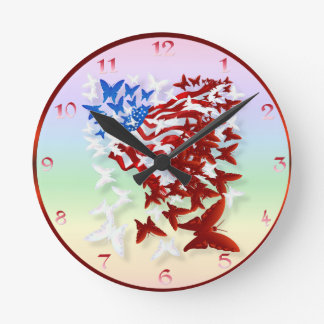La bandera Wallmart de la mariposa Reloj Redondo Mediano