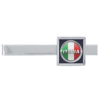 La Bandiera - The Italian Flag Silver Finish Tie Clip