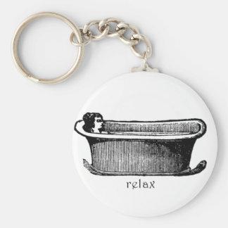 La bañera del vintage relaja el sello llaveros personalizados