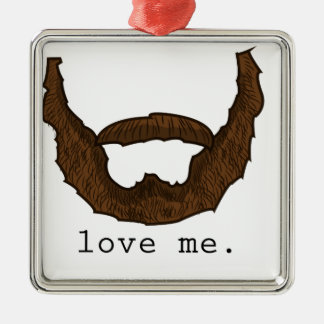 La barba me ama gráfico adorno navideño cuadrado de metal