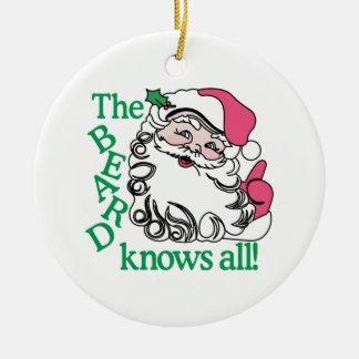 La barba sabe todos adorno navideño redondo de cerámica
