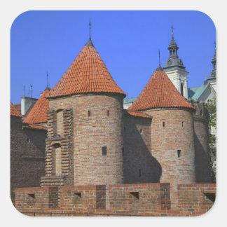 La barbacana y la iglesia de Paulina, Varsovia, Pegatina Cuadrada