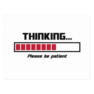 La barra de cargamento de pensamiento sea por tarjetas postales