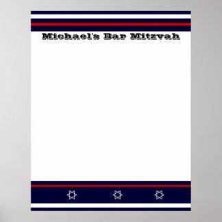 La barra de deportes Mitzvah firma adentro al tabl Poster