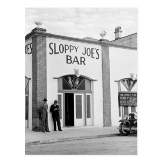 La barra de Joe descuidado, Key West, los años 30 Tarjetas Postales