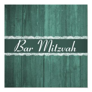 La barra de madera esmeralda rústica elegante invitación 13,3 cm x 13,3cm