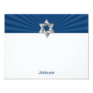 """La barra judía de plata Mitzvah de la estrella de Invitación 4.25"""" X 5.5"""""""
