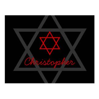 La barra negra y roja Mitzvah le agradece Tarjetas Postales