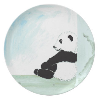 """La base """"pequeña panda"""" para pequeños y grandes plato de cena"""