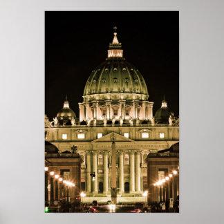 La basílica de San Pedro en la noche Póster