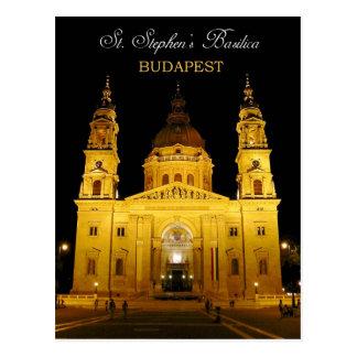 La basílica en la noche, Budapest, Hungría de St S Postales