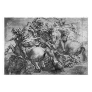 La batalla de Anghiari después de Leonardo da Vinc Póster