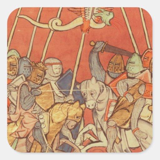 La batalla de Bedigran Calcomanias Cuadradas
