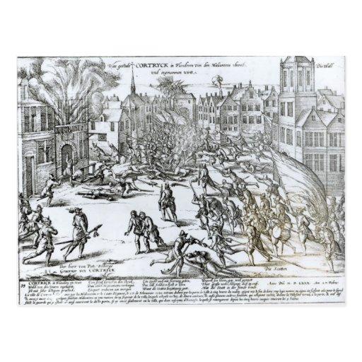La batalla de Courtrai entre el francés Tarjeta Postal