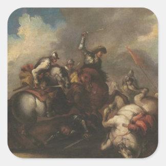La batalla de los Cavaliers (aceite en lona) Pegatina Cuadrada