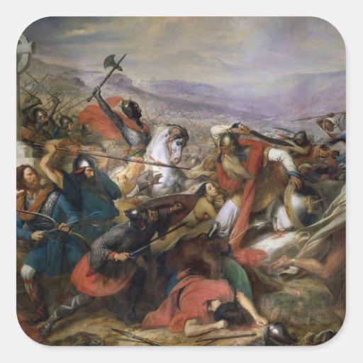 La batalla de Poitiers, ganada por Charles Martel Pegatina Cuadrada