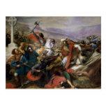 La batalla de Poitiers, ganada por Charles Martel Postal