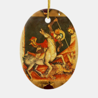 La batalla de San Jorge con el dragón Adorno Navideño Ovalado De Cerámica