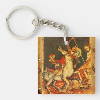 La batalla de San Jorge con el dragón Llavero Cuadrado Acrílico A Doble Cara