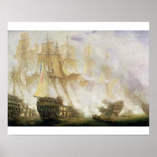 La batalla de Trafalgar, c.1841 (aceite en lona) Posters