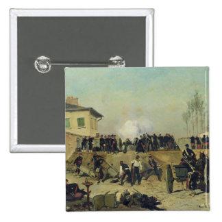 La batalla de Villejuif, cerco de París, 1870 Pin Cuadrado