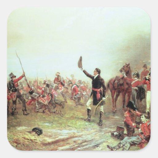 La batalla de Waterloo, el 18 de junio de 1815 2 Colcomanias Cuadradas Personalizadas