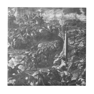 La batalla de Zara por Tintoretto Azulejo Cuadrado Pequeño